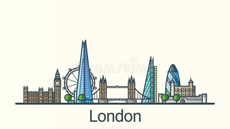 Mieszkanie kreskowy Londyński sztandar royalty ilustracja