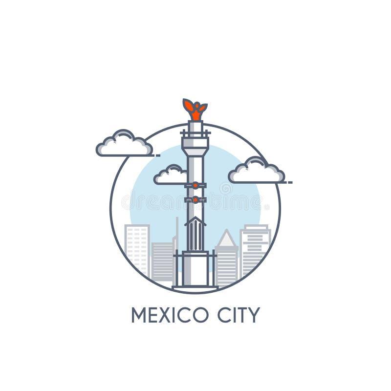 Mieszkanie linia deisgned ikona - Meksyk ilustracja wektor