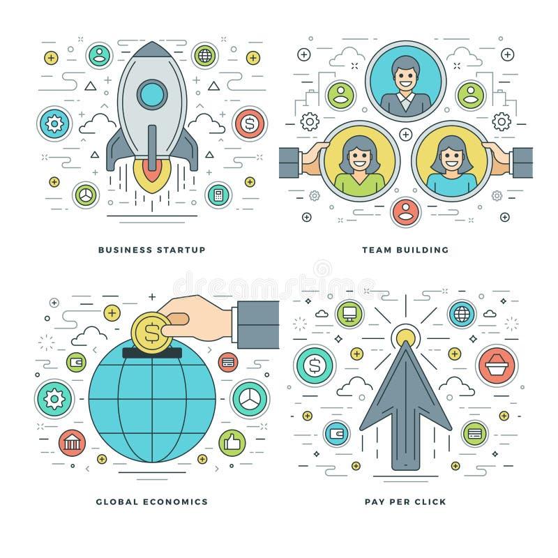 Mieszkanie linia Zaczyna up, Drużynowy budynek, Globalne ekonomie, Biznesowego sukcesu pojęcie Ustawiać Wektorowe ilustracje ilustracji