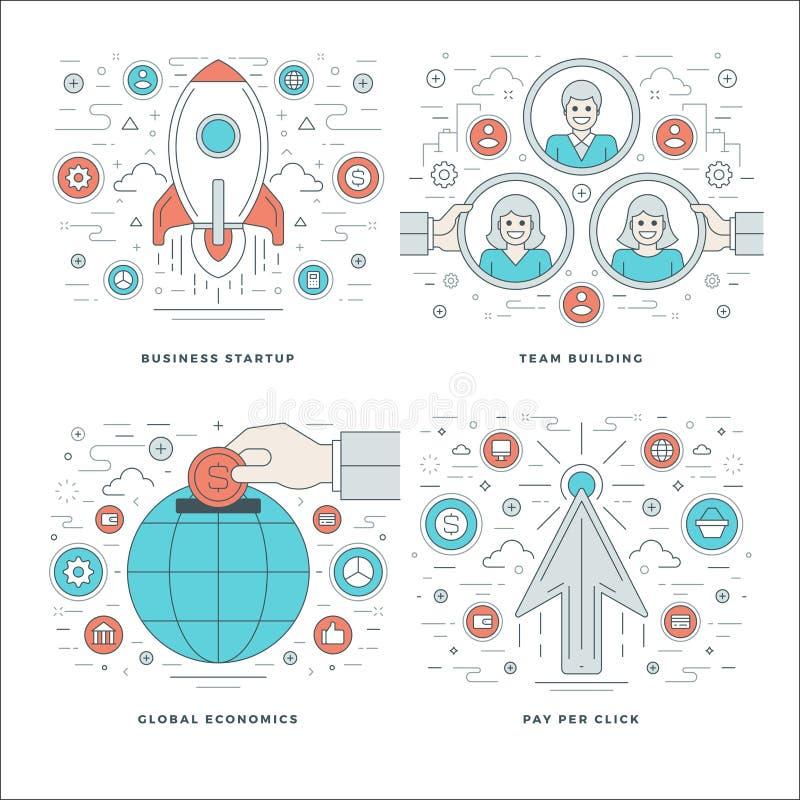 Mieszkanie linia Zaczyna up, Drużynowy budynek, Globalne ekonomie, Biznesowego sukcesu pojęcie Ustawiać Wektorowe ilustracje ilustracja wektor