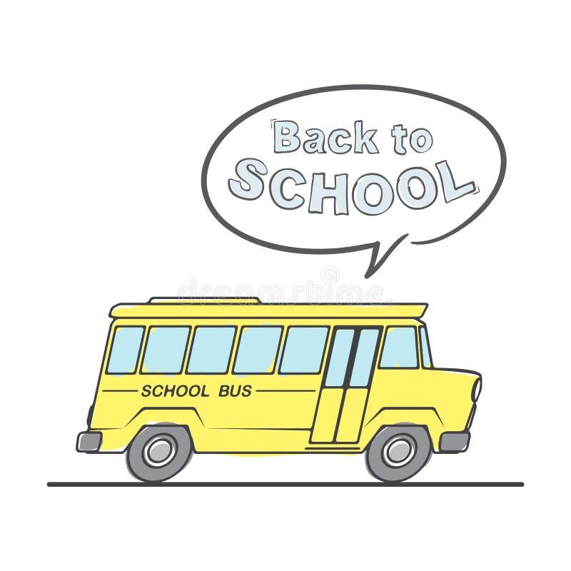 Mieszkanie linii doodle mowy i autobusu szkolnego bąble z pisać list Z powrotem szkoła na białym tle ilustracja wektor