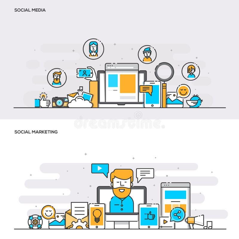 Mieszkanie linii koloru pojęcia Ogólnospołeczni środki i Ogólnospołeczny marketing ilustracja wektor