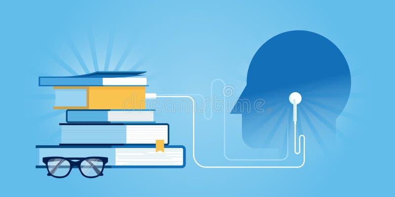 Mieszkanie linii projekta strony internetowej sztandar audio szkolenie i kursy royalty ilustracja
