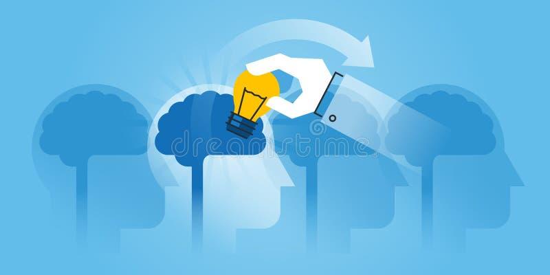 Mieszkanie linii projekta strony internetowej sztandar brainstorming ilustracja wektor