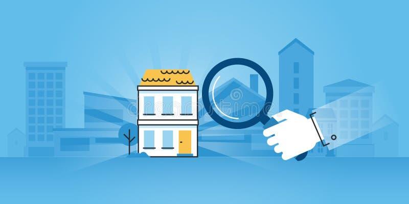 Mieszkanie linii projekta strony internetowej sztandar budowa royalty ilustracja