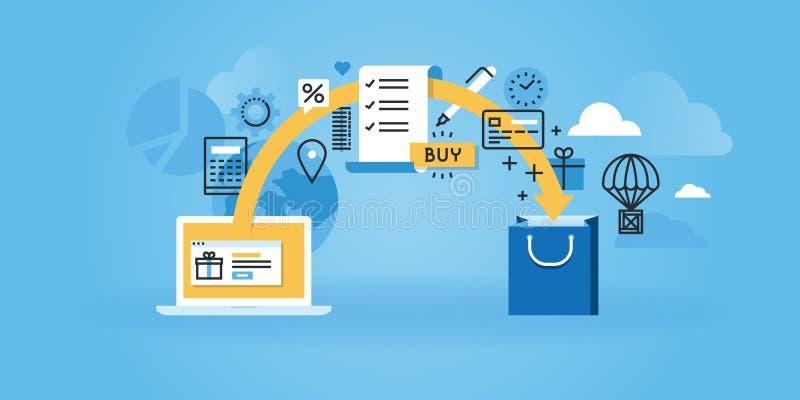 Mieszkanie linii projekta strony internetowej sztandar handel elektroniczny royalty ilustracja