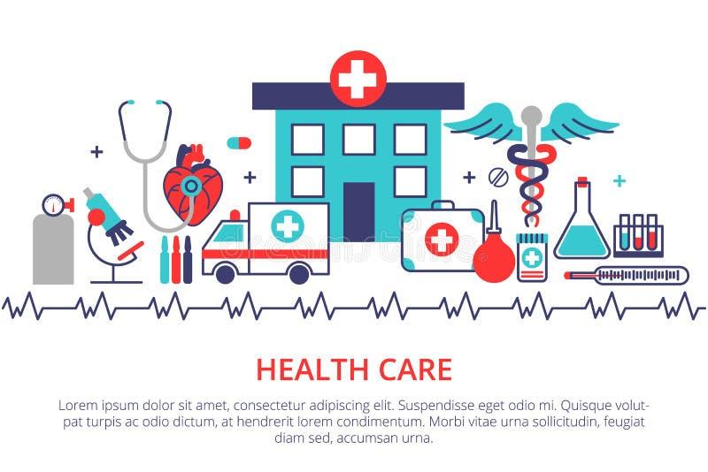 Mieszkanie linii projekta strony internetowej sztandar opieka zdrowotna, klinika i hospit, ilustracja wektor
