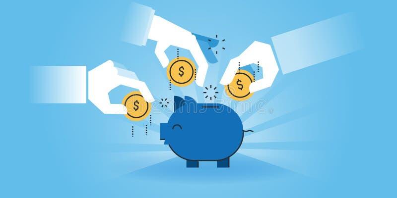 Mieszkanie linii projekta strony internetowej sztandar rodzinni savings ilustracja wektor