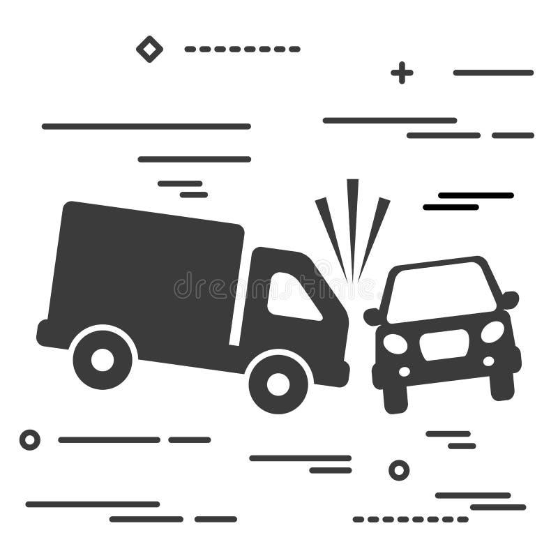 Mieszkanie linii projekta wizerunku graficzny pojęcie ciężarówka i kraksa samochodowa royalty ilustracja