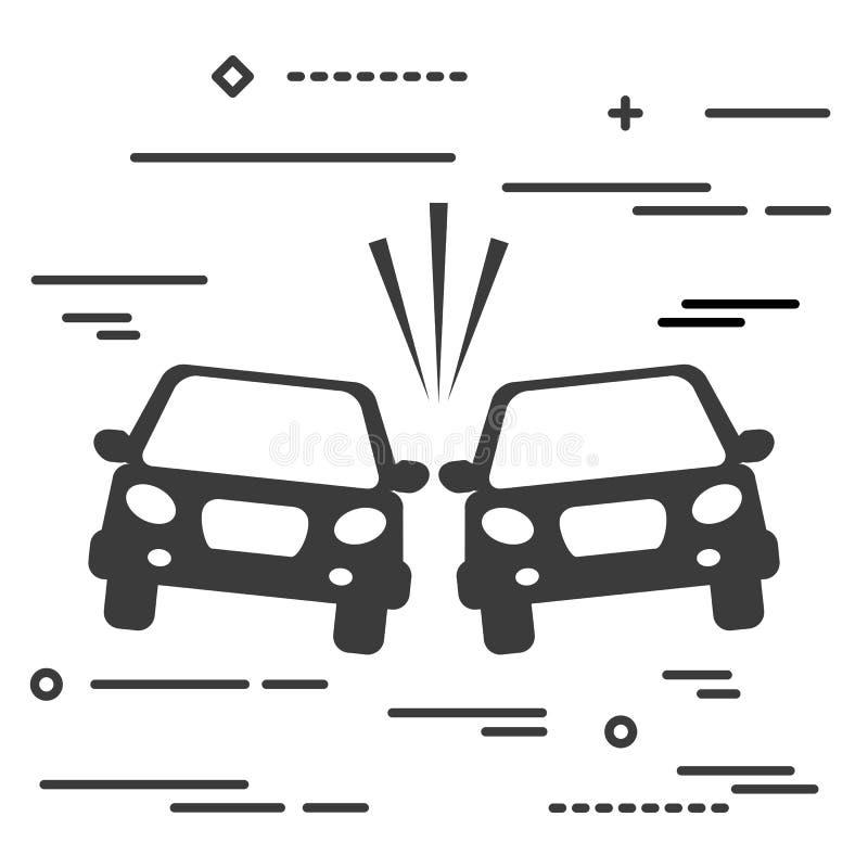 Mieszkanie linii projekta wizerunku graficzny pojęcie kraksa samochodowa wektoru illus royalty ilustracja