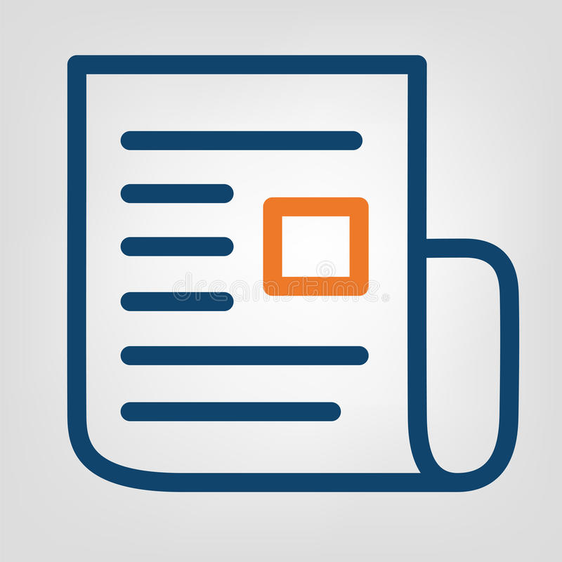 Mieszkanie linii raportu ikona Lakoniczny błękitny i pomarańcze wykładamy na szarym tle odosobniony wektorowy przedmiot royalty ilustracja