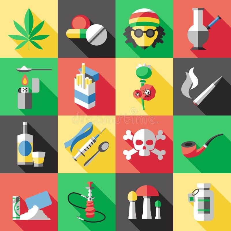 Mieszkanie Narkotyzuje ikona set royalty ilustracja