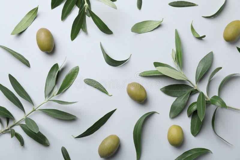 Mieszkanie nieatutowy skład z świeżą zieloną oliwką opuszcza zdjęcia stock