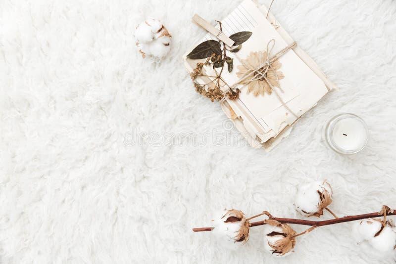 Mieszkanie nieatutowy skład z suchymi kwiatów, bawełnianych i starych listami, zdjęcia royalty free