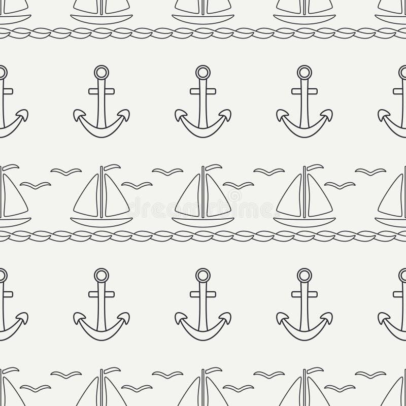Mieszkanie oceanu kreskowa monochromatyczna wektorowa bezszwowa deseniowa łódź z żaglem, kotwica Kreskówka retro styl regatta Sea ilustracja wektor