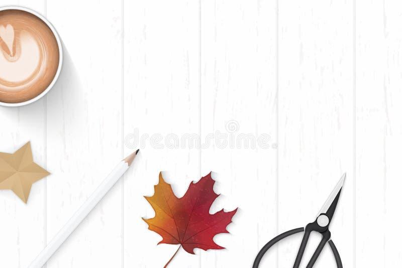 Mieszkanie odgórnego widoku składu nieatutowego eleganckiego białego papieru etykietki nożyc jesieni kawowy ołówkowy liść klonowy ilustracja wektor
