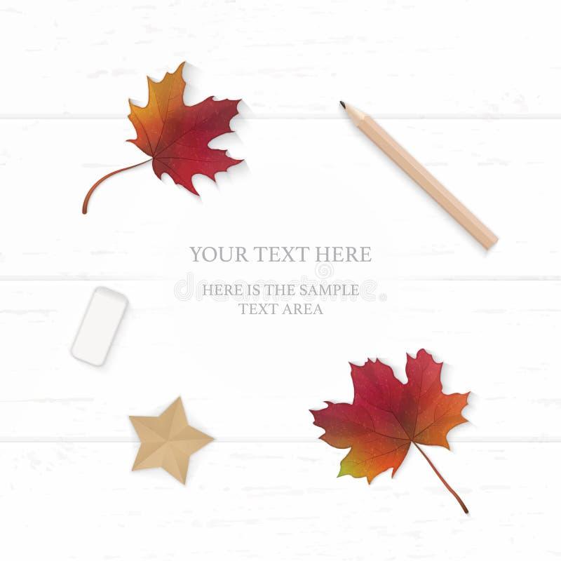 Mieszkanie odgórnego widoku składu papieru jesieni liścia klonowego ołówkowej gumki nieatutowa elegancka biała etykietka i gwiazd royalty ilustracja