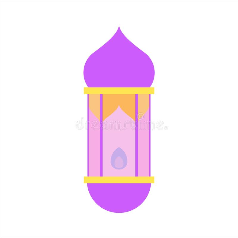 Mieszkanie odizolowywa? kolorowego Ramadan kareem i wektor eid Mubarak lampionu, pastelowego koloru, ilustracji i t?a, ilustracji