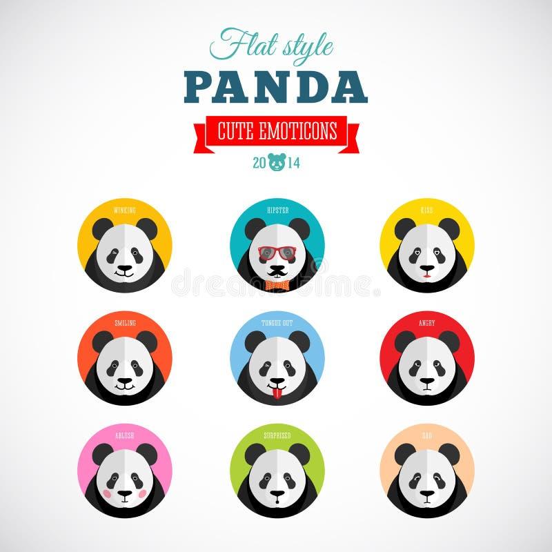 Mieszkanie pandy Emoticons wektoru Stylowy set royalty ilustracja