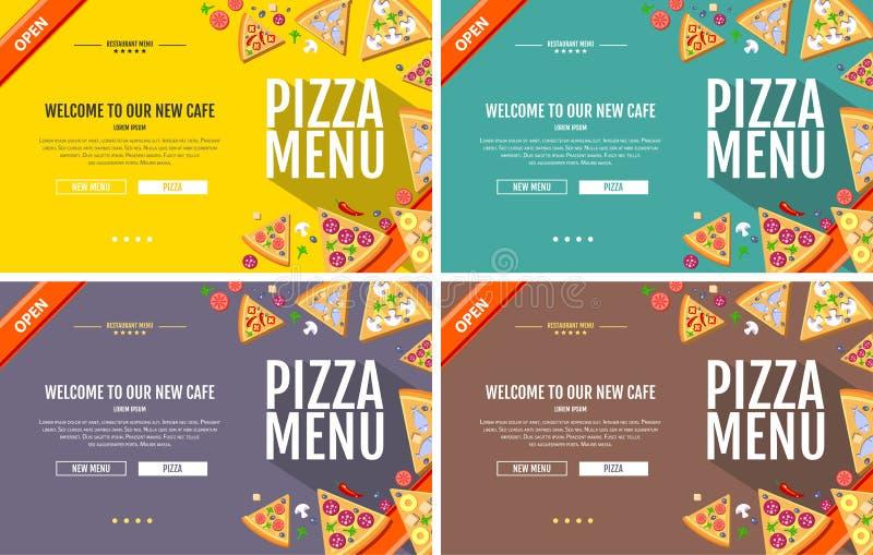 Mieszkanie pizzy menu pojęcia strony internetowej stylowy projekt royalty ilustracja