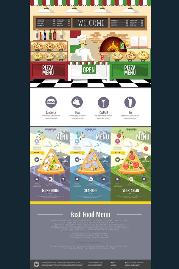 Mieszkanie pizzy menu pojęcia strony internetowej stylowy projekt ilustracji
