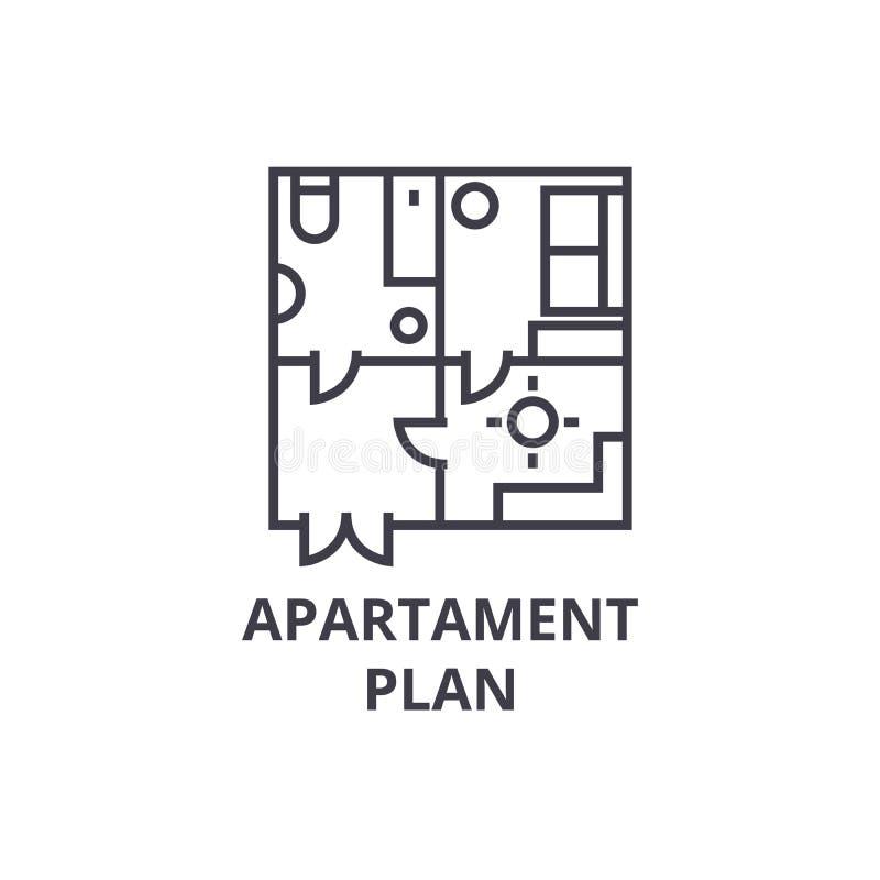 Mieszkanie planu wektoru linii ikona, znak, ilustracja na tle, editable uderzenia royalty ilustracja