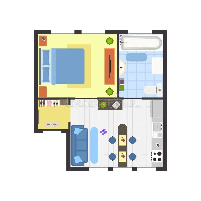 Mieszkanie Podłogowy plan z Meblarskim Odgórnym widokiem wektor royalty ilustracja