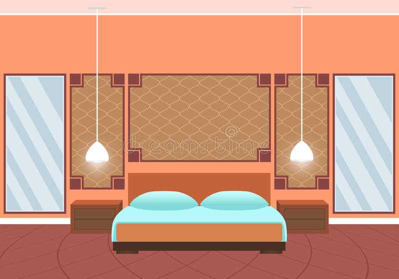 Mieszkanie pokoju hotelowego stylowy wnętrze z meblarskimi i ogromnymi lustrami ilustracja wektor