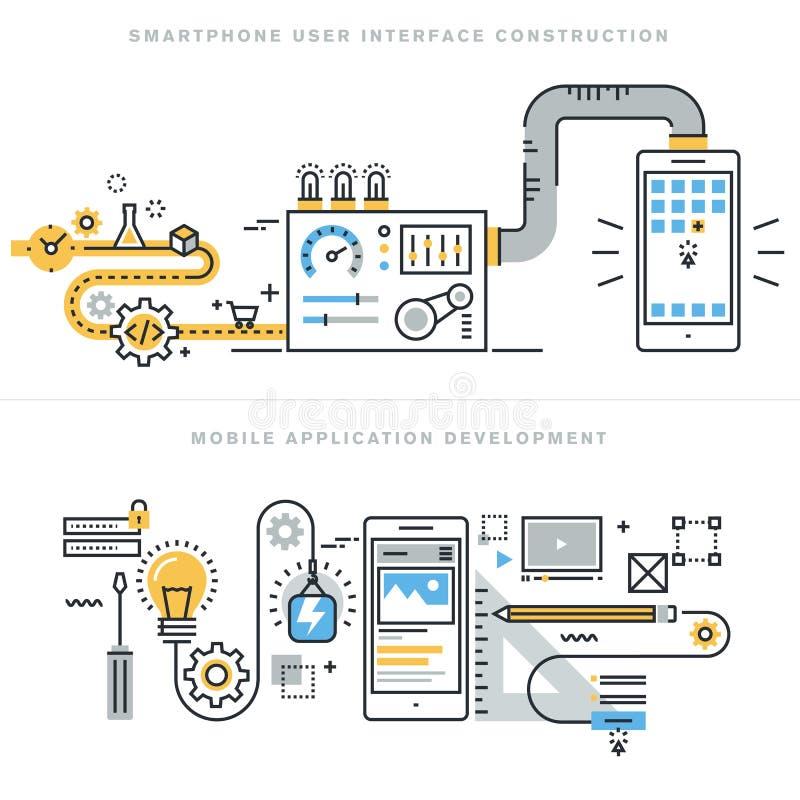 Mieszkanie projekta kreskowi pojęcia dla mobilnego apps rozwoju