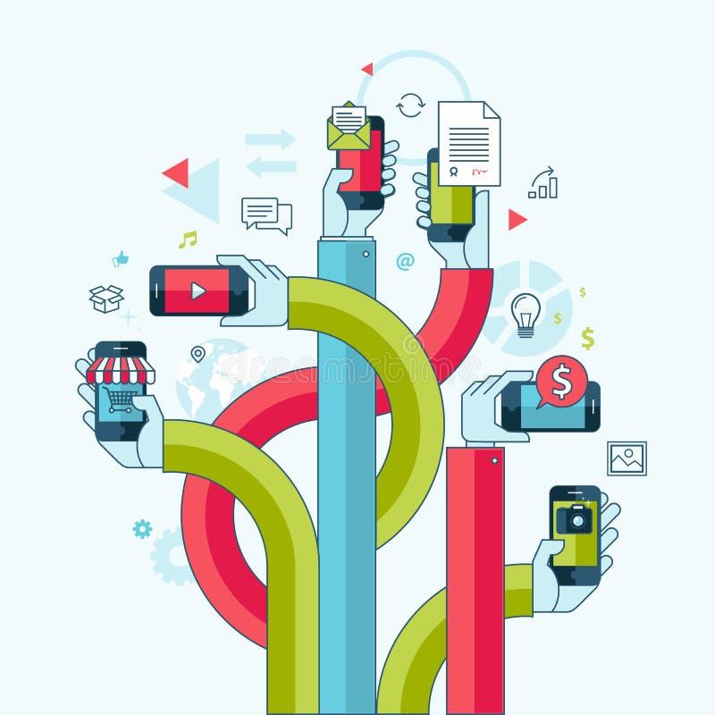 Mieszkanie projekta kreskowy pojęcie dla telefonów komórkowych apps i royalty ilustracja