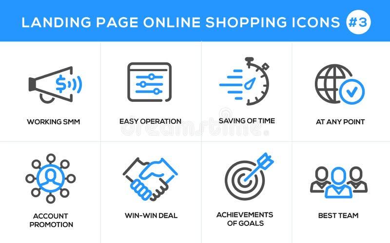 Mieszkanie projekta pojęcia kreskowe ikony dla online zakupy, strona internetowa sztandaru i lądowanie strony, ilustracja wektor