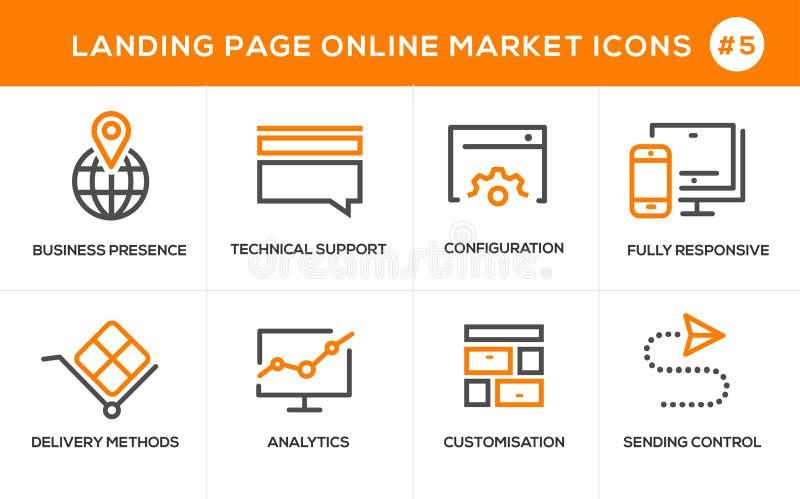 Mieszkanie projekta pojęcia kreskowe ikony dla online zakupy, strona internetowa sztandaru i lądowanie strony, royalty ilustracja