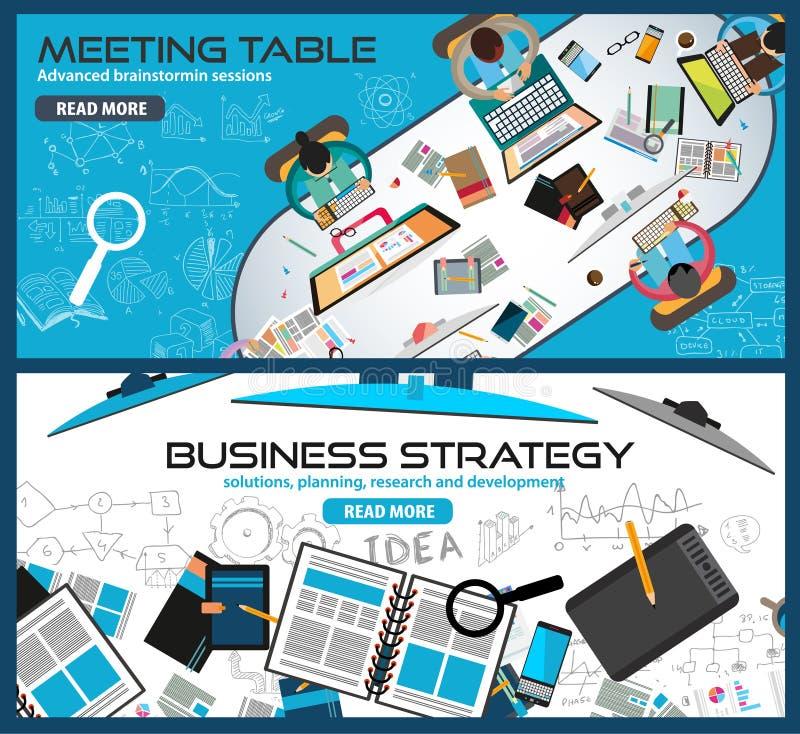 Mieszkanie projekta Stylowi pojęcia dla strategii biznesowej, finanse, brainstorming ilustracja wektor