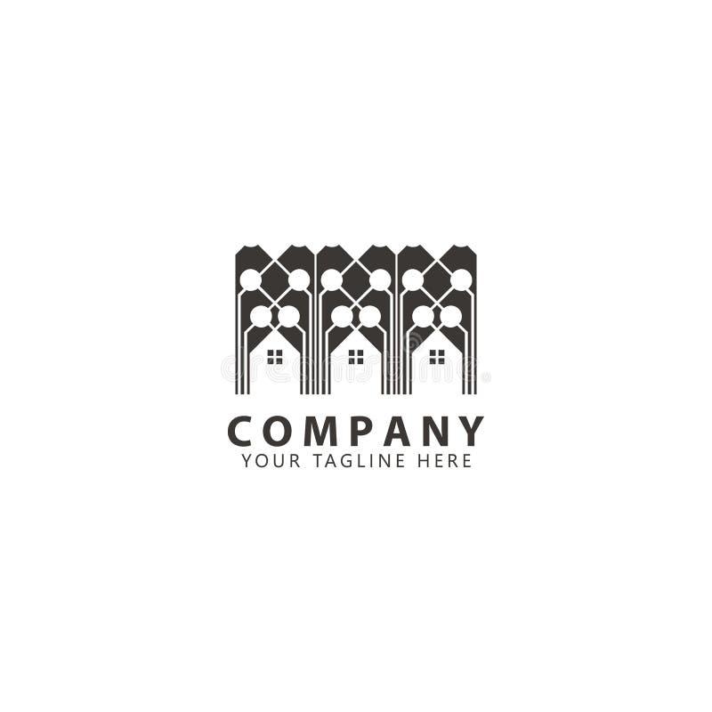 Mieszkanie, Real Estate, miasta linia horyzontu logo projekta wektor ilustracji