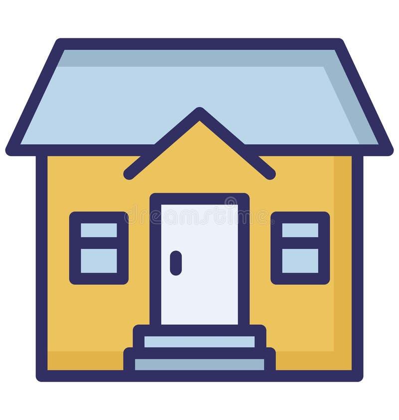 Mieszkanie, rodzina dom Odizolowywał Wektorową ikonę która może być łatwo redaguje lub modyfikuje royalty ilustracja
