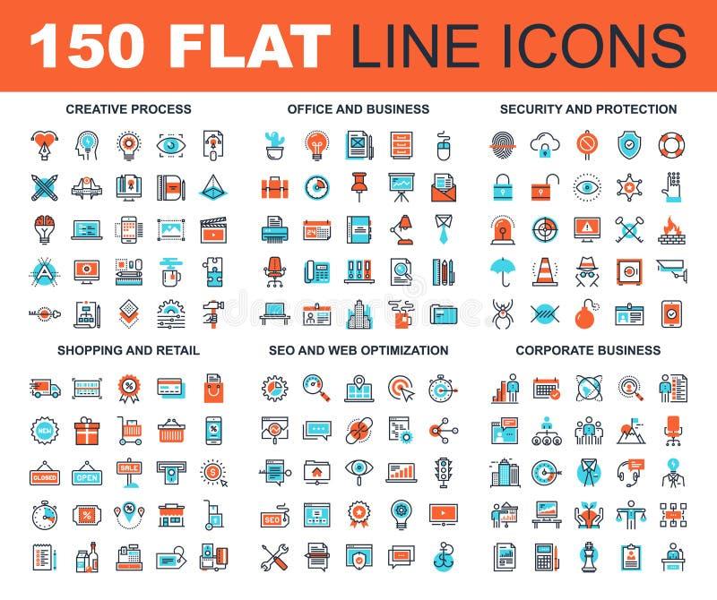 Mieszkanie sieci Kreskowe ikony ilustracja wektor