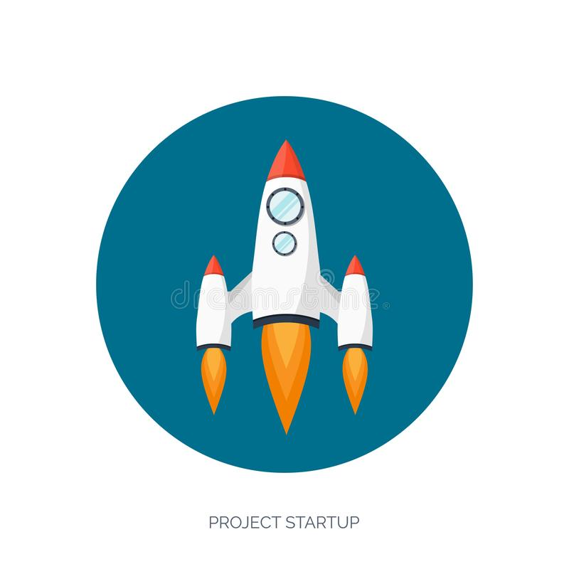 Mieszkanie statku kosmicznego rakietowy wodowanie Początkowy pojęcia i projekta rozwój Eksploracja przestrzeni kosmicznej ilustracja wektor
