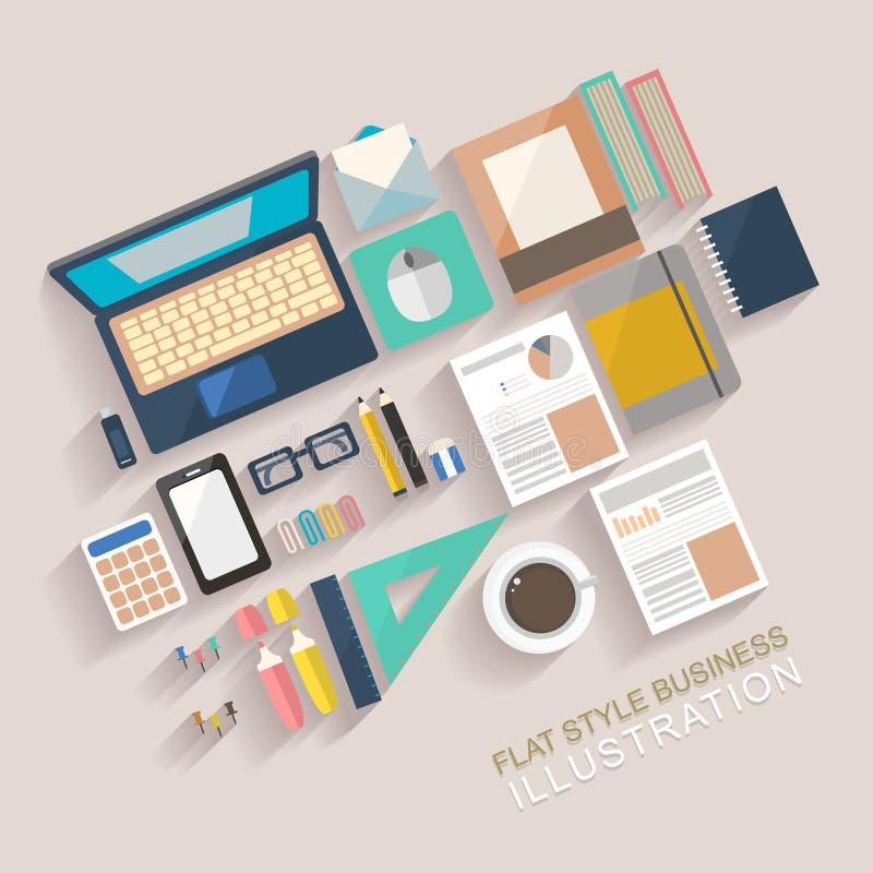 Mieszkanie stylowa ilustracja pracujący miejsce ilustracja wektor