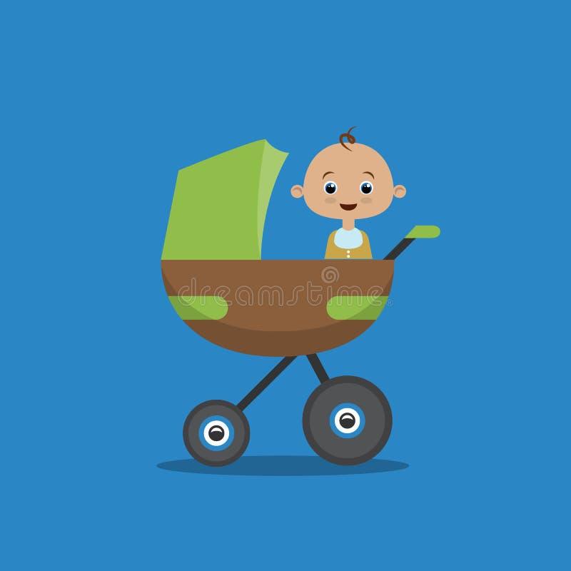 Mieszkanie stylowa ilustracja z chłopiec w frachcie ilustracji