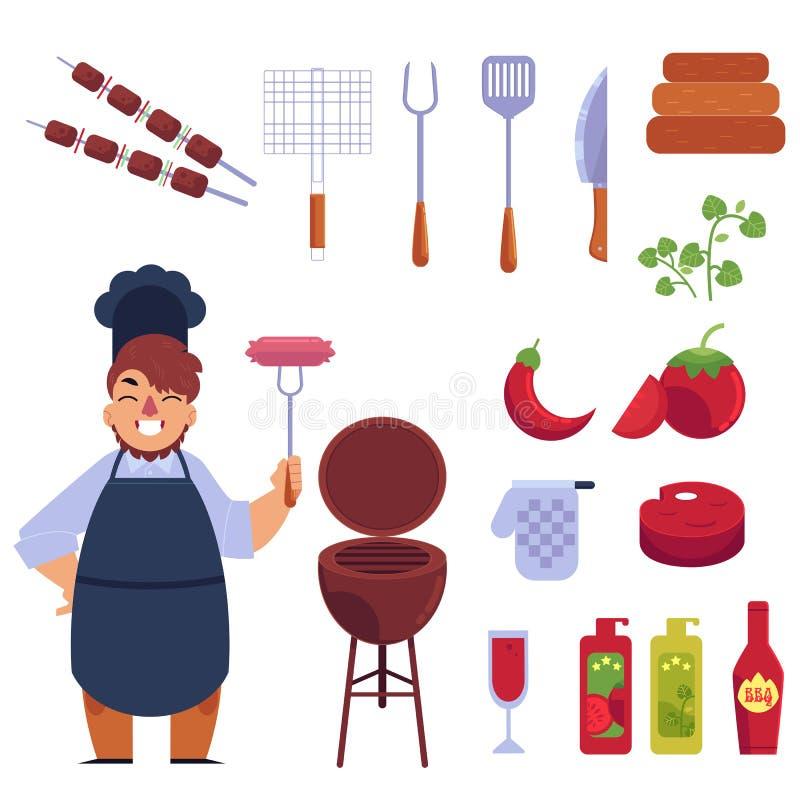 Mieszkanie stylowa kreskówka ustawiająca bbq, grill i śmieszny kucharz, ilustracji