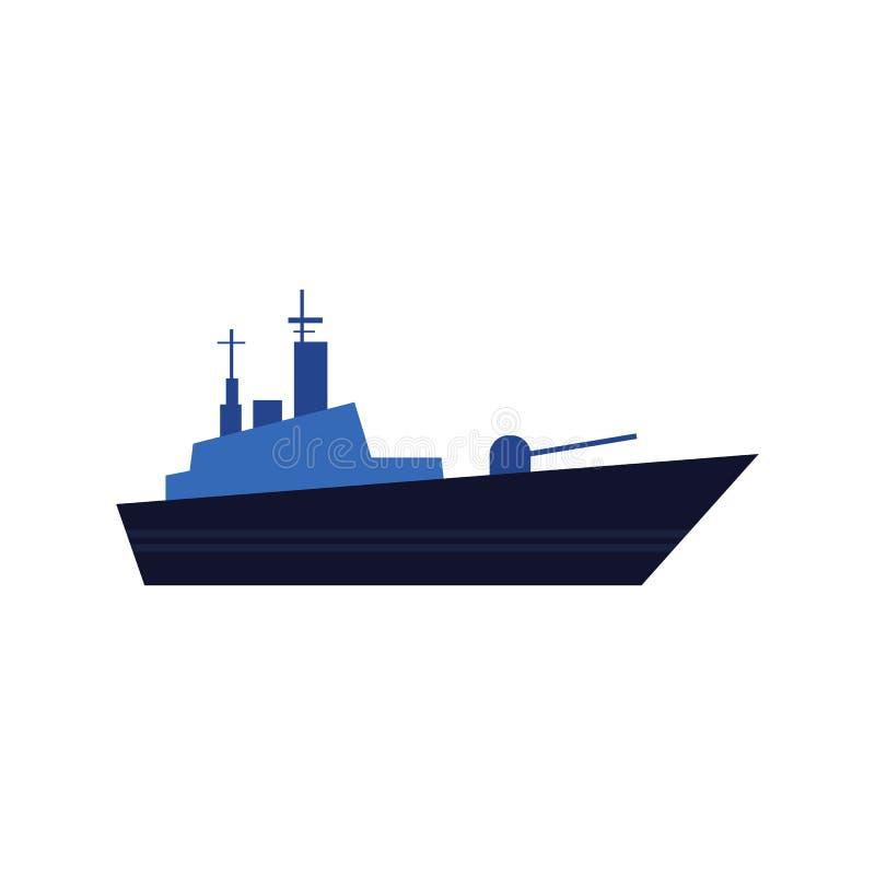 Mieszkanie stylowa wektorowa ikona błękitny okręt wojenny, pancernik ilustracja wektor