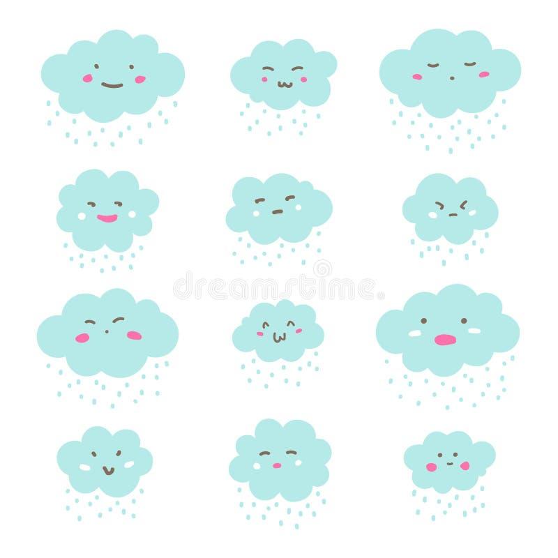 Mieszkanie stylowe śliczne chmury, emoticons z kreskówki emoji stawiają czoło ilustracja wektor