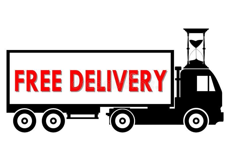 Mieszkanie stylowej ilustraci doręczeniowej usługa ciężarówki bezpłatna wysyłka ilustracji
