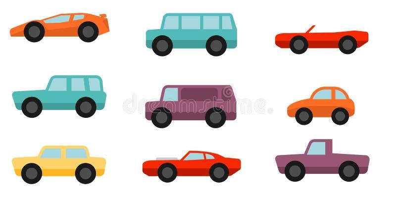 Mieszkanie stylowi samochody ustawiający royalty ilustracja