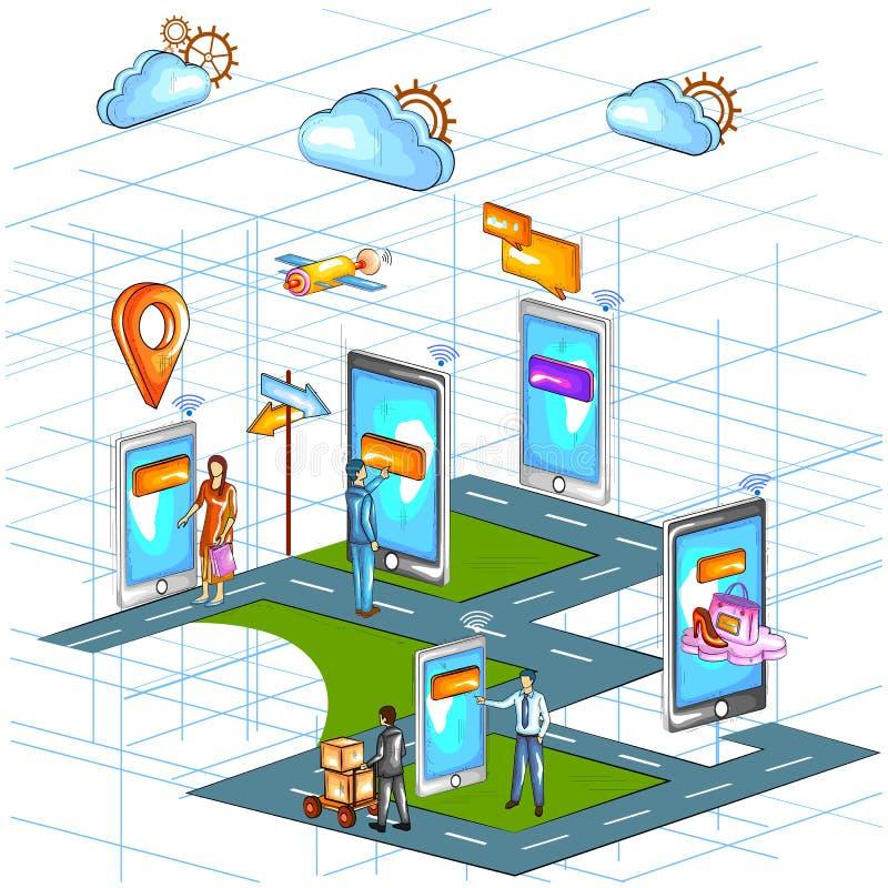 Mieszkanie stylowy 3D Isometric widok e handlu zakupy zastosowania online interfejs ilustracja wektor