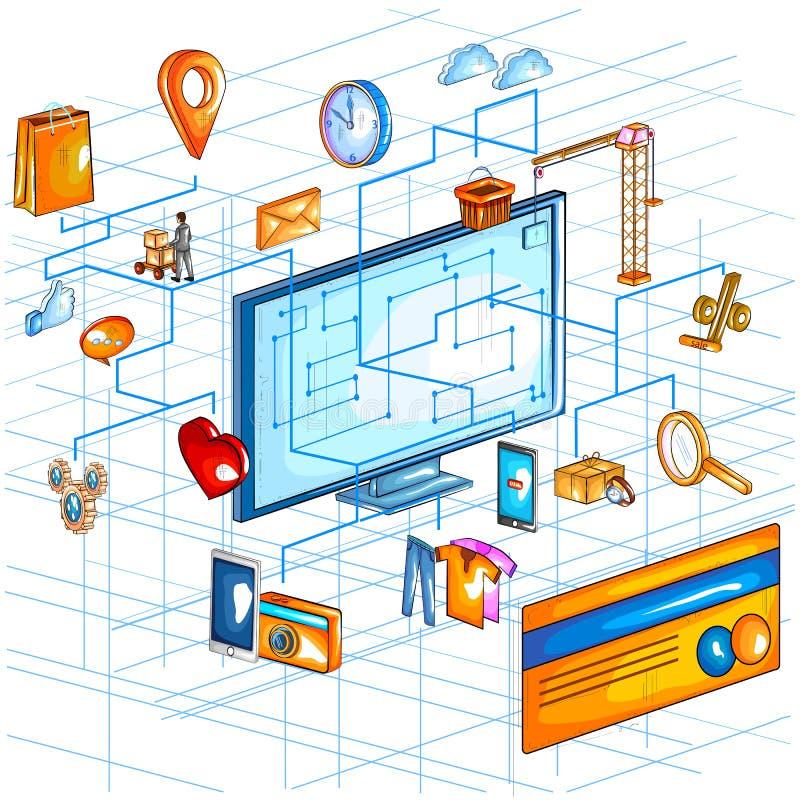 Mieszkanie stylowy 3D Isometric widok e handlu zakupy zastosowania online interfejs royalty ilustracja