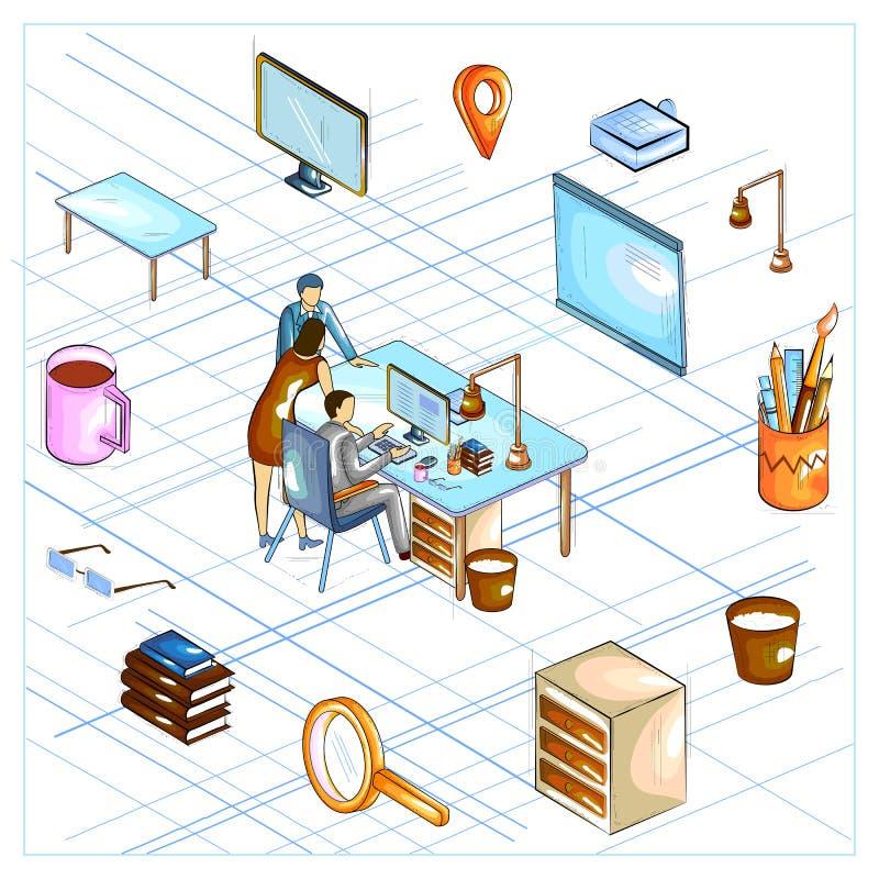 Mieszkanie stylowy 3D Isometric widok strategii biznesowej dyskusja ilustracja wektor