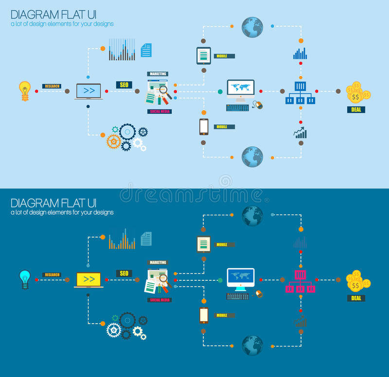 Mieszkanie Stylowy diagram, Infographic i UI ikony używać dla twój biznesowego projekta, royalty ilustracja