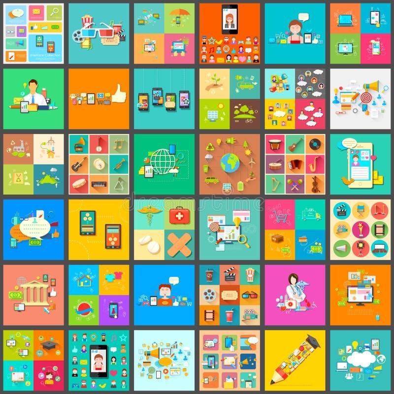 Mieszkanie stylowy piktogram dla interfejs użytkownika olbrzymiej kolekci ilustracji