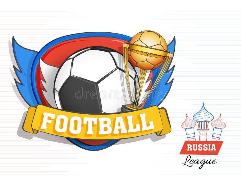 Mieszkanie stylowy plakat lub sztandaru projekt z latającym futbolem i Cham royalty ilustracja
